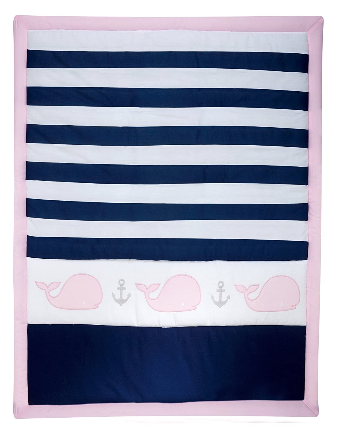 Nautica Kids Nursery Separates Comforter, Pink, Navy, White Crown Crafts Inc 4095001