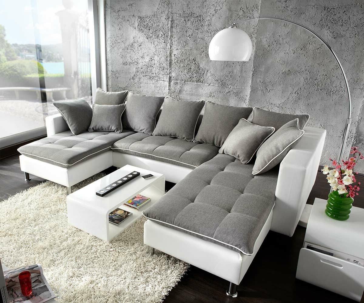 Couch Firenze Weiss Hellgrau 310x200 Ottomane Rechts Wohnlandschaft