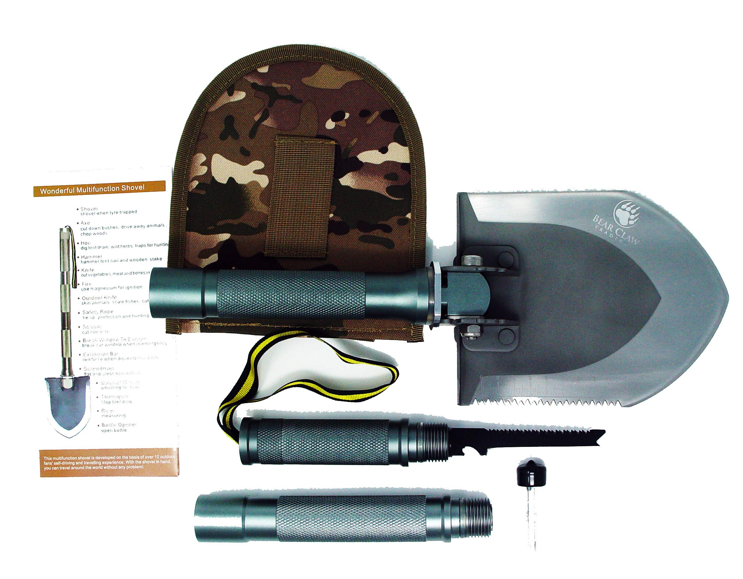 Military Folding Shovel Multitool - Great for 4x4, Jeep, Offroad, ATV, Camping, Military, Hunting, BoyScouts and Survival Situations.