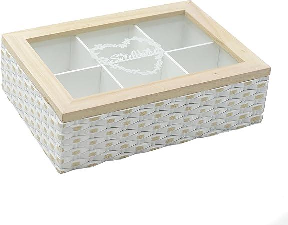 Caja madera clasificadora para infusiones con 6 departamentos en madera decorada con tapa superior en cristal transparente: Amazon.es: Hogar