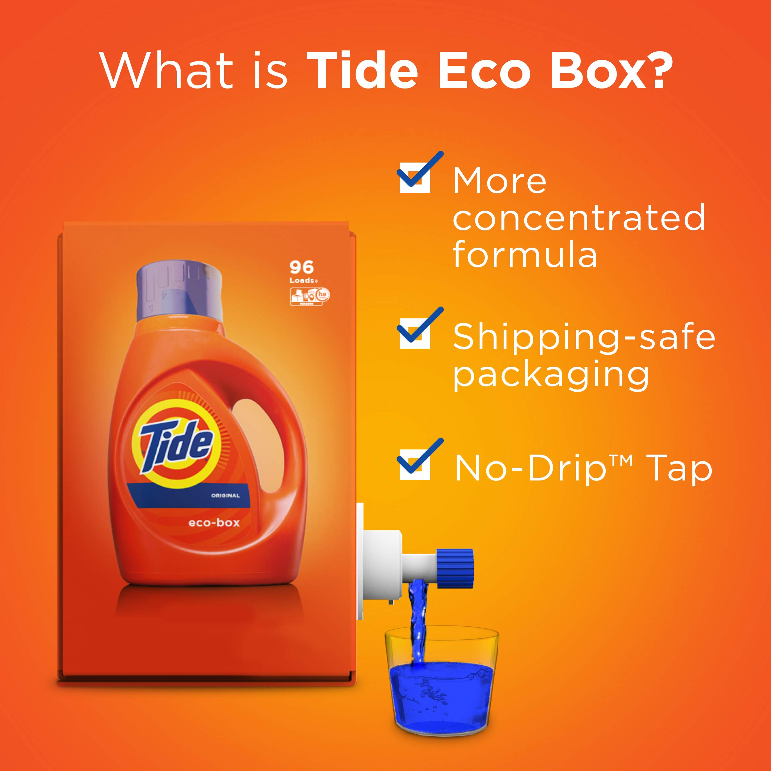 Tide Laundry Detergent Liquid Eco-Box, Concentrated, Original Scent, 105 oz, HE Compatible, 96 Loads by Tide (Image #11)