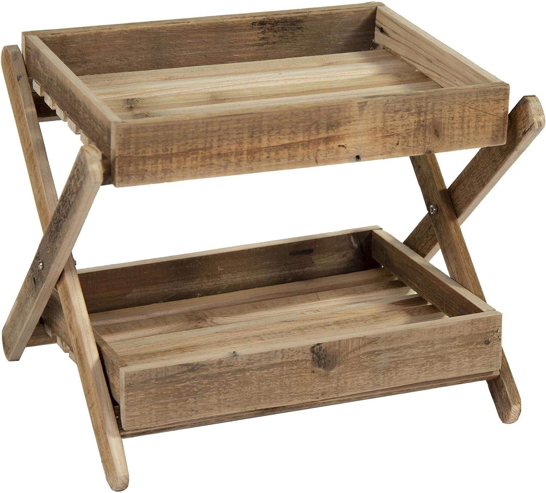 Mesa auxiliar de jardín de madera natural pequeña con dos bandejas 38 x 42 x 30 cm