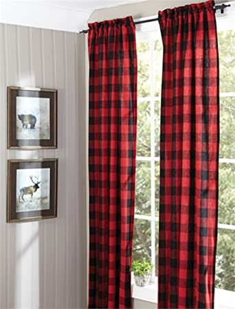 Amazon Buffalo Check Lined Panel Pair 72X96 Window Curtain Drapery Home Kitchen