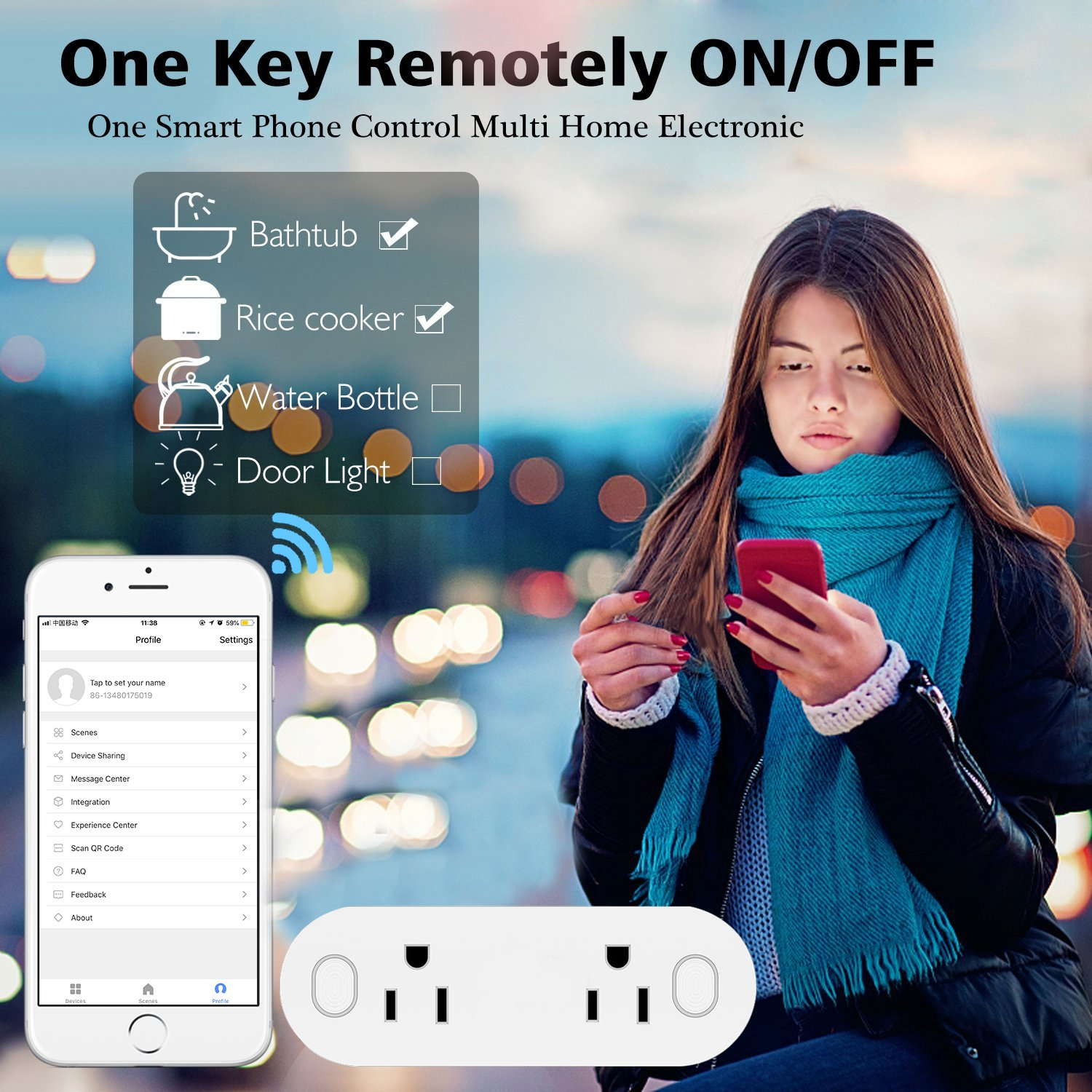 Multifunctional/Smart Dual Wireless Outlet Socket Google Home Charger Plug with 2 Switches Makerfun/WiFi Smart Plug Mini Alexa 2 Pack WiFi Charging Outlet Compatible with Alexa IFTTT