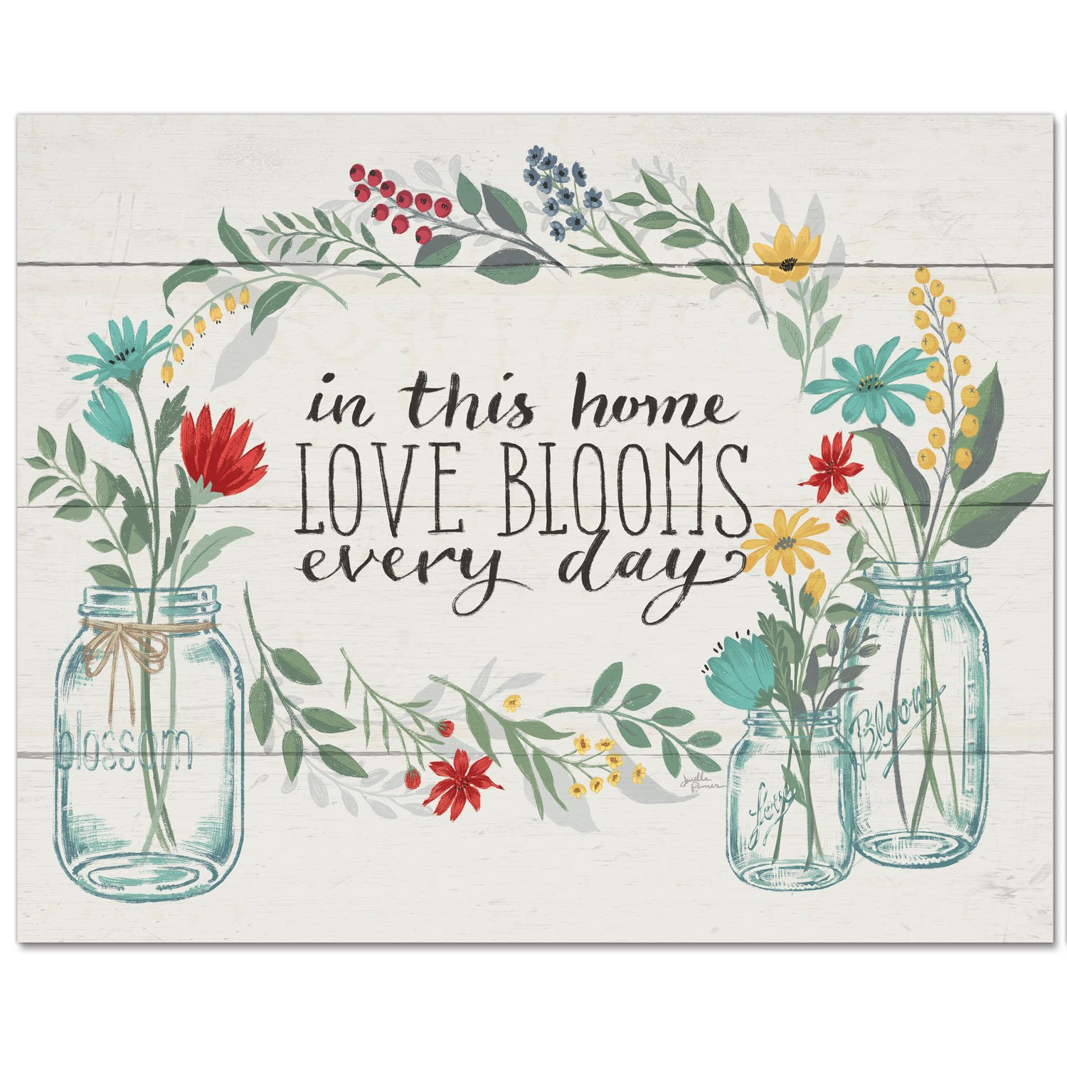 CounterArt 15 by 12-Inch Glass Cutting Board, In This Home Love Blooms Every Day-Floral by CounterArt