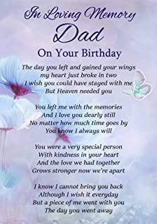 dad birthday memorial laminated card with butterfly stake holder and