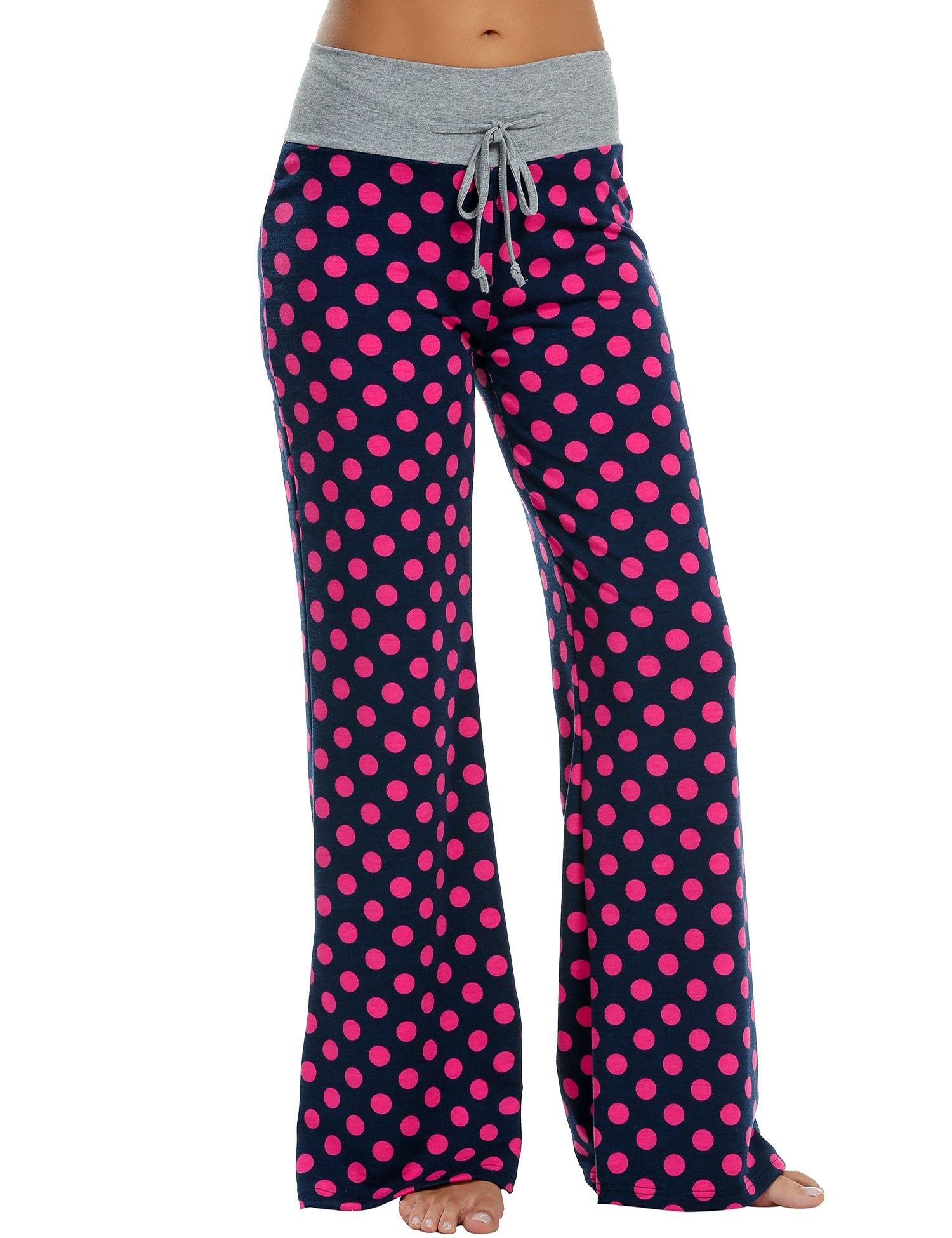 HOTOUCH Damen Schlafanzughose Pyjamahose Nachtwäsche Sweathose Beiläufige Lang Freizeithose mit Breitem Elastischem Bund aus Baumwolle