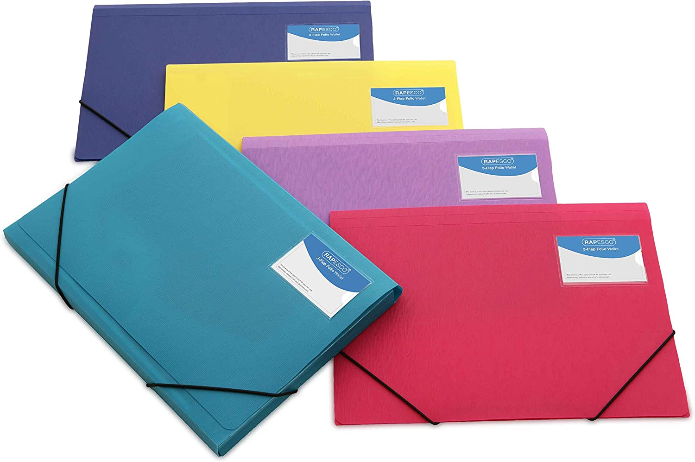 Rapesco documentos - Carpeta de tres solapas A4+, colores variados sólidos, 5 unidades