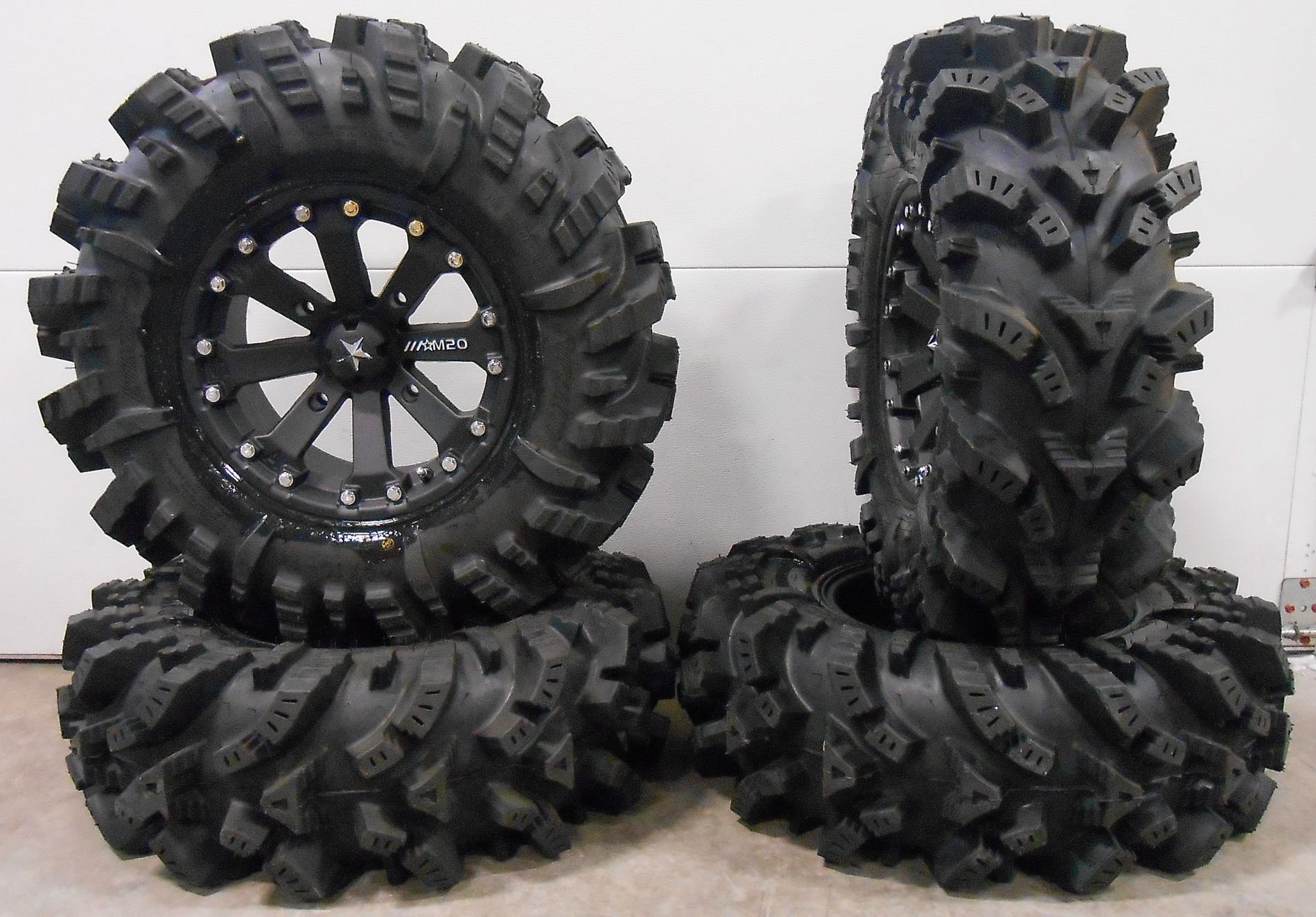 Bundle - 9 Items: MSA Black Kore 14'' UTV Wheels 30'' Intimidator Tires [4x137 Bolt Pattern 12mmx1.5 Lug Kit]