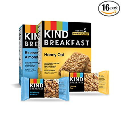 Amazon.com : KIND Breakfast Bars Variety Pack, Blueberry Almond & Honey Oat, 1.8oz, 16 Count : Garden & Outdoor