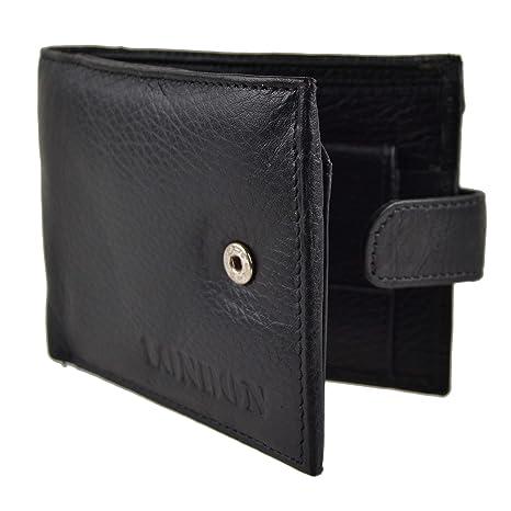 Para hombre/Classic para hombre piel con pestañas de calidad negro tipo cartera bolsillo para