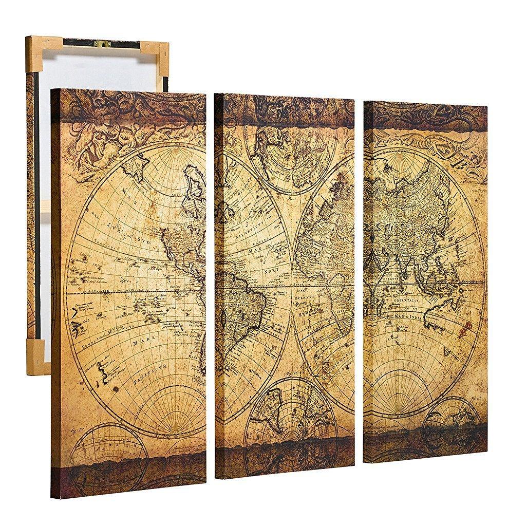 Amazon.com: Donglin Art The Retro World Map Oil Printing On Canvas ...