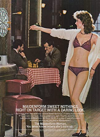 72ef7e25bde Maidenform Sweet Nothings right on target bra   panties ad 1983 game of  darts at Amazon s Entertainment Collectibles Store