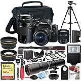 Canon EOS Rebel T6i Digital SLR Camera with EF-S 18-55mm IS STM Lens Kit - 64GB SDXC Dual Battery & Shotgun Mic Pro Video Bundle (18-55mm + 75-300 + 500mm Telephoto Kit)