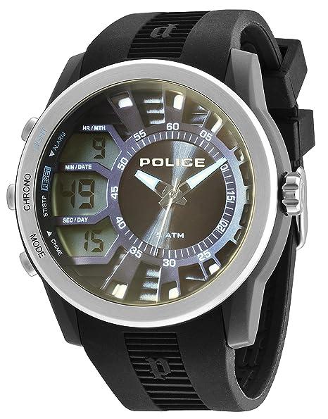 Police 14249JPBS/61 - Reloj de cuarzo, correa de silicona color negro: Amazon.es: Relojes