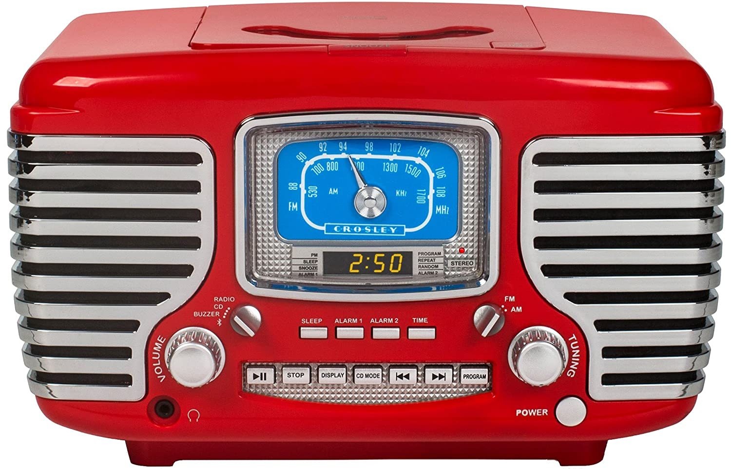 Crosley CR612D-RE Corsair Retro AM/FM Dual Alarm Clock Radio with CD Player and Bluetooth, Red Deer Park Distributors