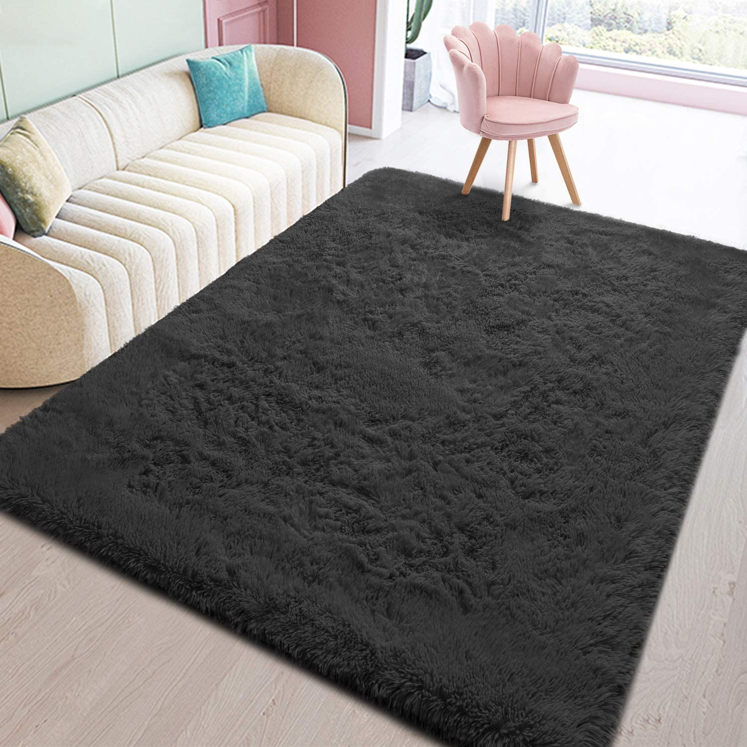 Toneed Black Fluffy Bedroom Area Rug 4 x 6 Feet Clearance Modern Area Rugs for Boys Girls Kid Living Room College Dorm Nursery Home Decorations Carpet