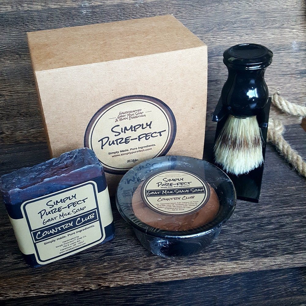 Shave Soap Complete Kit - Goat Milk Shave Soap in Bowl - Boar Bristle Brush & Stand - Goat Milk Body Bar - Packaged in Gift Box - Handmade and Natural - Robust Lather, Long Lasting - 5 Star Fragrance