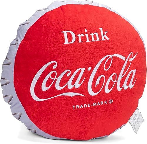 Mark Feldstein Associates Drink Coca-Cola Bottle Cap 16 Inch Plush Polyester Embroidered Pillow