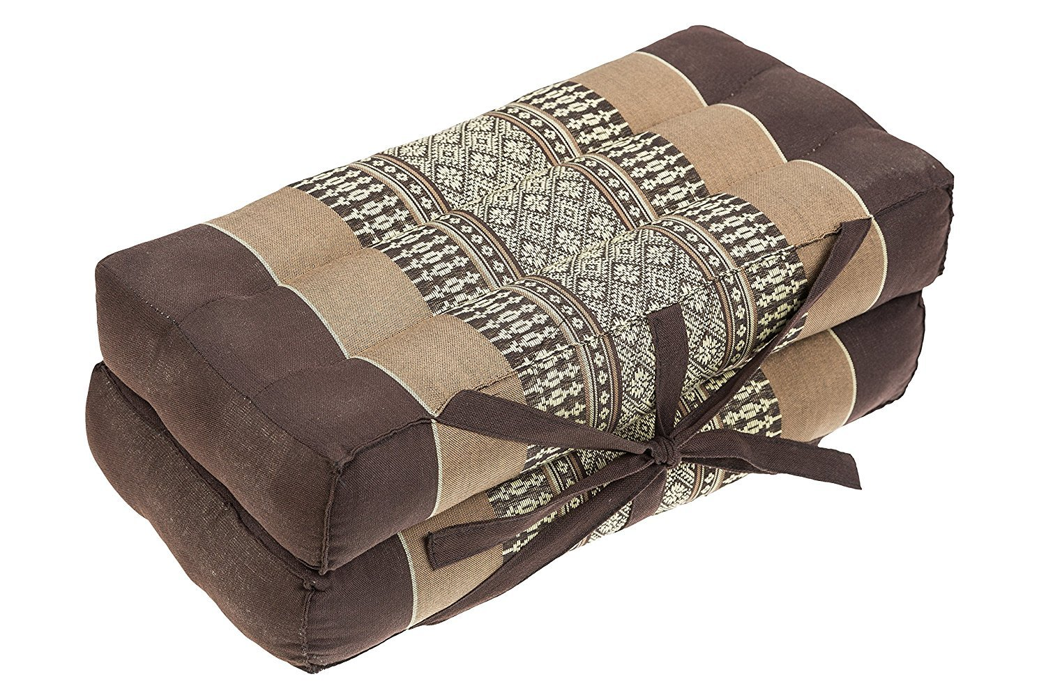 "Mongkol Brand Thai Foldable Pillow, Seat/Chairpad and Meditation Cushion 100% Cotton & Natural Kapok Stuffing,Brown-Beige, 16"" by Mongkol Brand"
