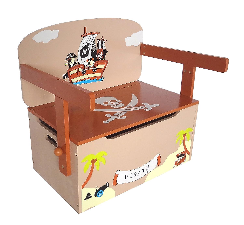 Kiddi Style Children's Pirate Wooden Convertible Toy Box Bebe Style PRF1CTB