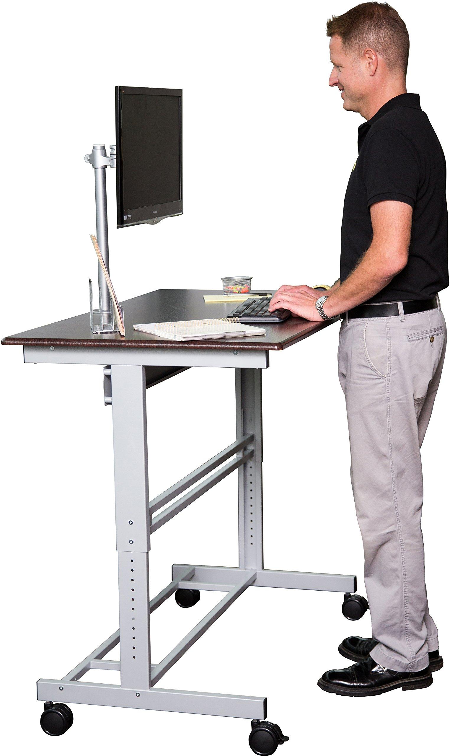 48'' Stand Up Desk w/ FREE Monitor Mount (Dark Walnut Shelves / Silver Frame)