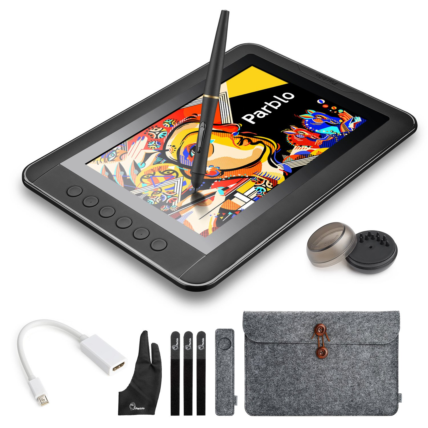 Parblo Mast10 10.1'' Graphic Drawing Monitor with 6 Shortcut Keys and Battery-free Pen Passive Stylus + Mini DisplayPort to HDMI Adapter for Mac