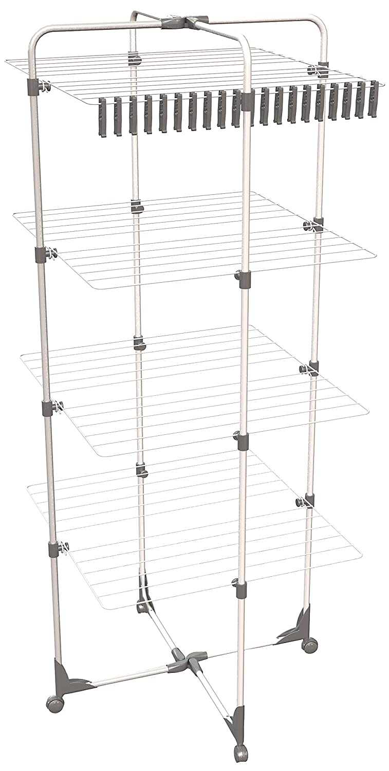 Herby 3461 Clothes-Drying Tower with 4 Levels - Thermoplastified/Powder-Coated Steel - 64 x 5 x 149 cm - White / Grey