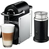 Nespresso Pixie Original Espresso Machine with Aeroccino Milk Frother Bundle by De'Longhi, Aluminum