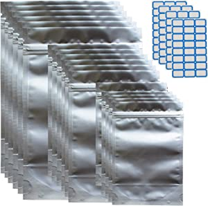 100pcs Mylar Resealable Bags for Food Storage with Stickers, Sealable Smell Proof Zip Pouch Bag, Edible Packaging with Double Side Aluminum Foil, 2.6quarts, 1.1quarts, 0.5quarts