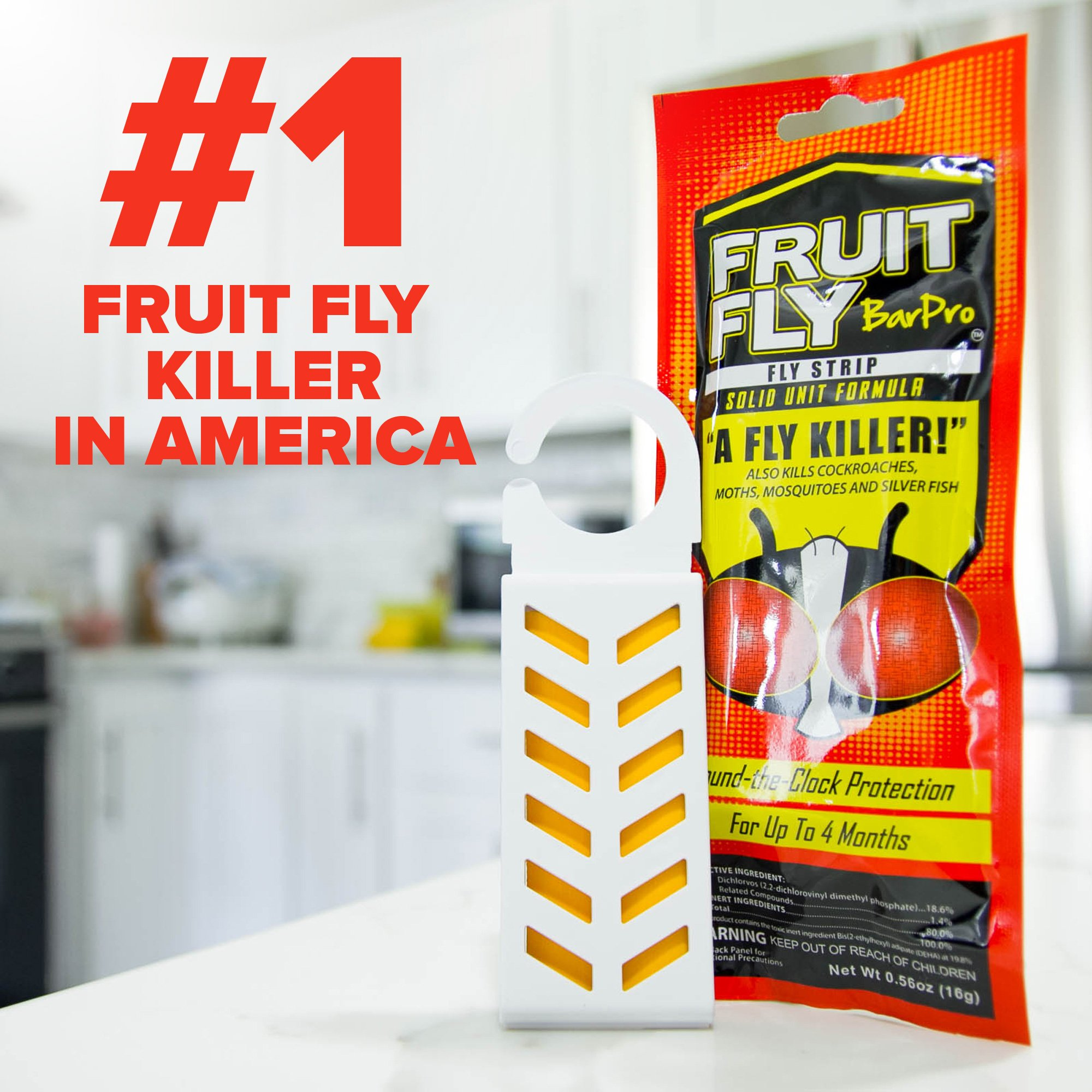 Fruit Fly BarPro Fly Strip – 4 Month Protection Against Flies, Cockroaches, Mosquitos & Other Pests – Portable for Indoor & Outdoor Use (5 Strips, Food Service Pack) by Fruit Fly BarPro (Image #2)