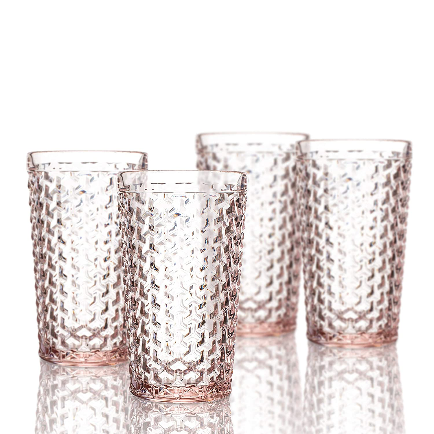 Elle Decor 229803-4HBGR Bistro Weave Highball Glasses (Set of 4), 3.2 x 3.2 x 5.5, Green