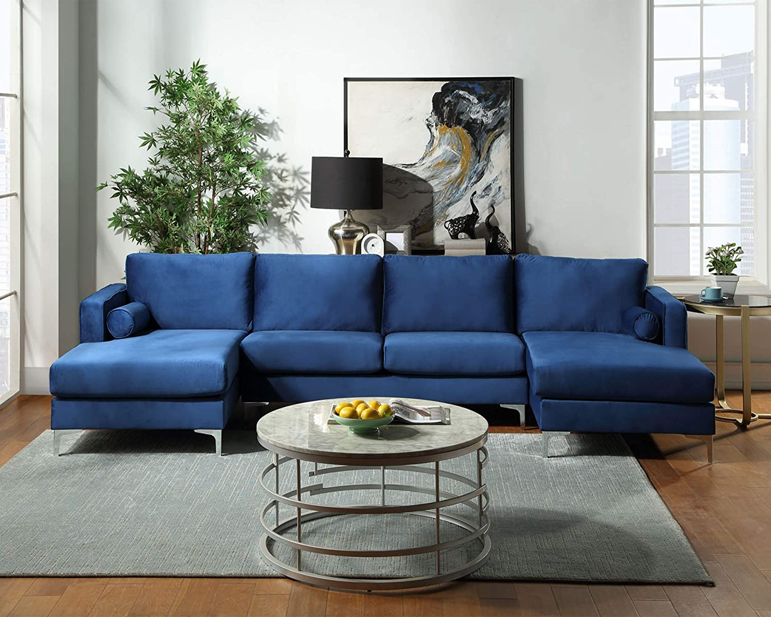 GAOPAN Modern Upholstered Soft Velvet Fabric 4 Seater U-Shape Sectional Sofa Set with Two Pillows and Double Extra Wide Chaise Lounge Couch for Home Conversation & Living Room Furniture,Blue