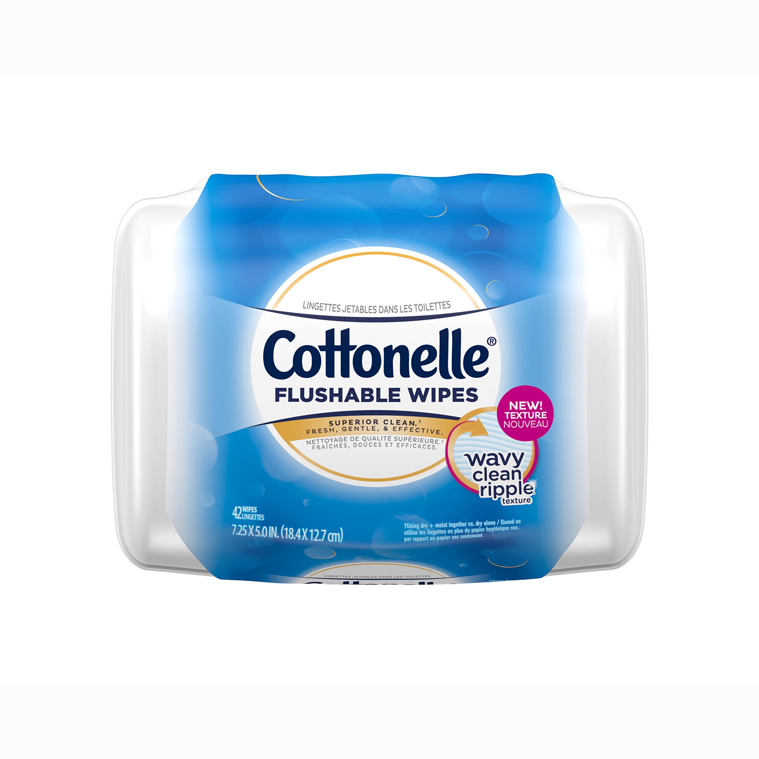Cottonelle FreshCare Flushable Wipes Refill Tub, 42 Flushable Wet Wipes, Lightly Scented