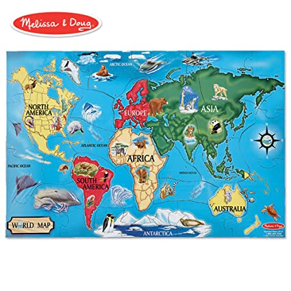 "Melissa & Doug World Map Jumbo Jigsaw Floor Puzzle (Wipe-Clean Surface,  Teaches Geography & Shapes, 33 Pieces, 24"" L x 36"" W)"
