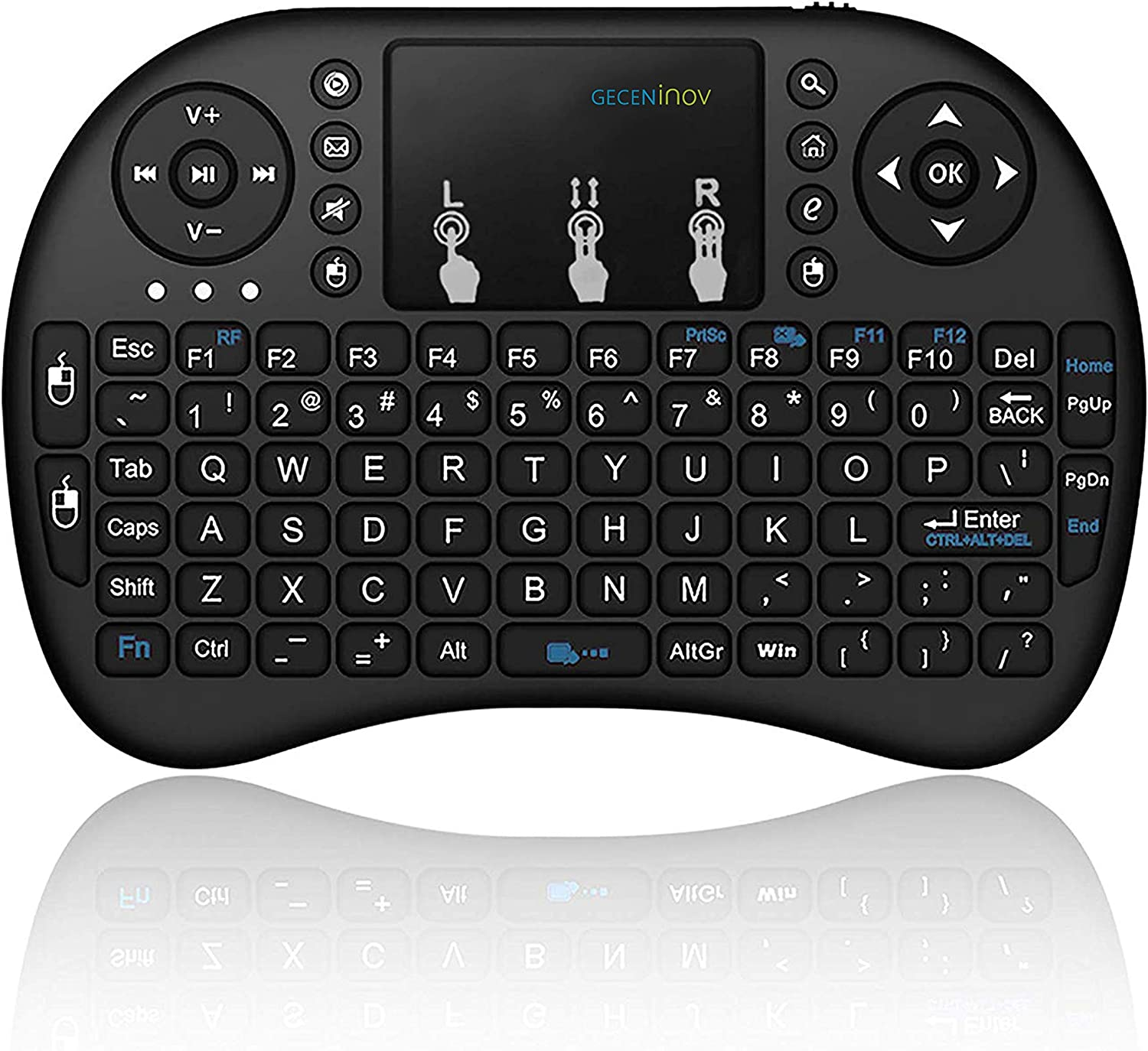 Mini Wireless Keyboard with Touchpad, 2.4Ghz Wireless Mini Handheld Remote Control Keyboard with Rechargeable Battery by Gecen Compatible with, Smart TV, HTPC, PS3,etc.