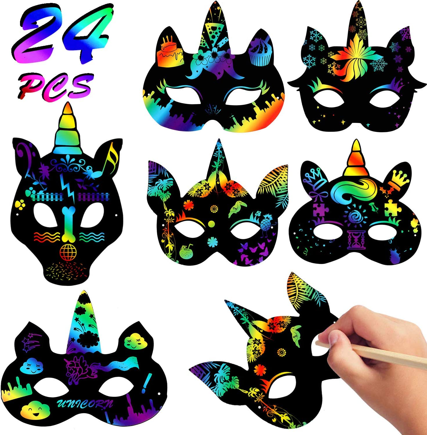 Casun Scratch Art Paper,Rainbow Crafts Kit 50 Pcs Scratch Art for Kids Toys for Girls 6-8 Years Old Black Scratch Best Gifts for Boys Ages 4-12