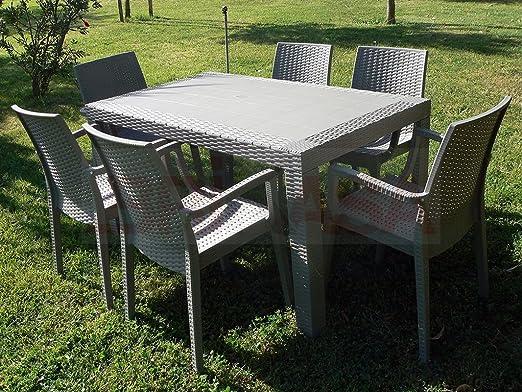 Tavolo E Poltrone Da Giardino.Dimaplast Set Garden Top Tortora Tavolo E 4 Poltrone In Resina