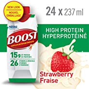 BOOST High Protein Strawberry Meal Replacement Drink, 24 x 237ml - PACKAGING MAY VARY