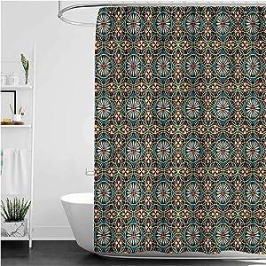 Interestlee Floral Dorm Shower Curtain Circles Flowers Modern Waterproof Summer Bath Decor, 72 x 72 Inch