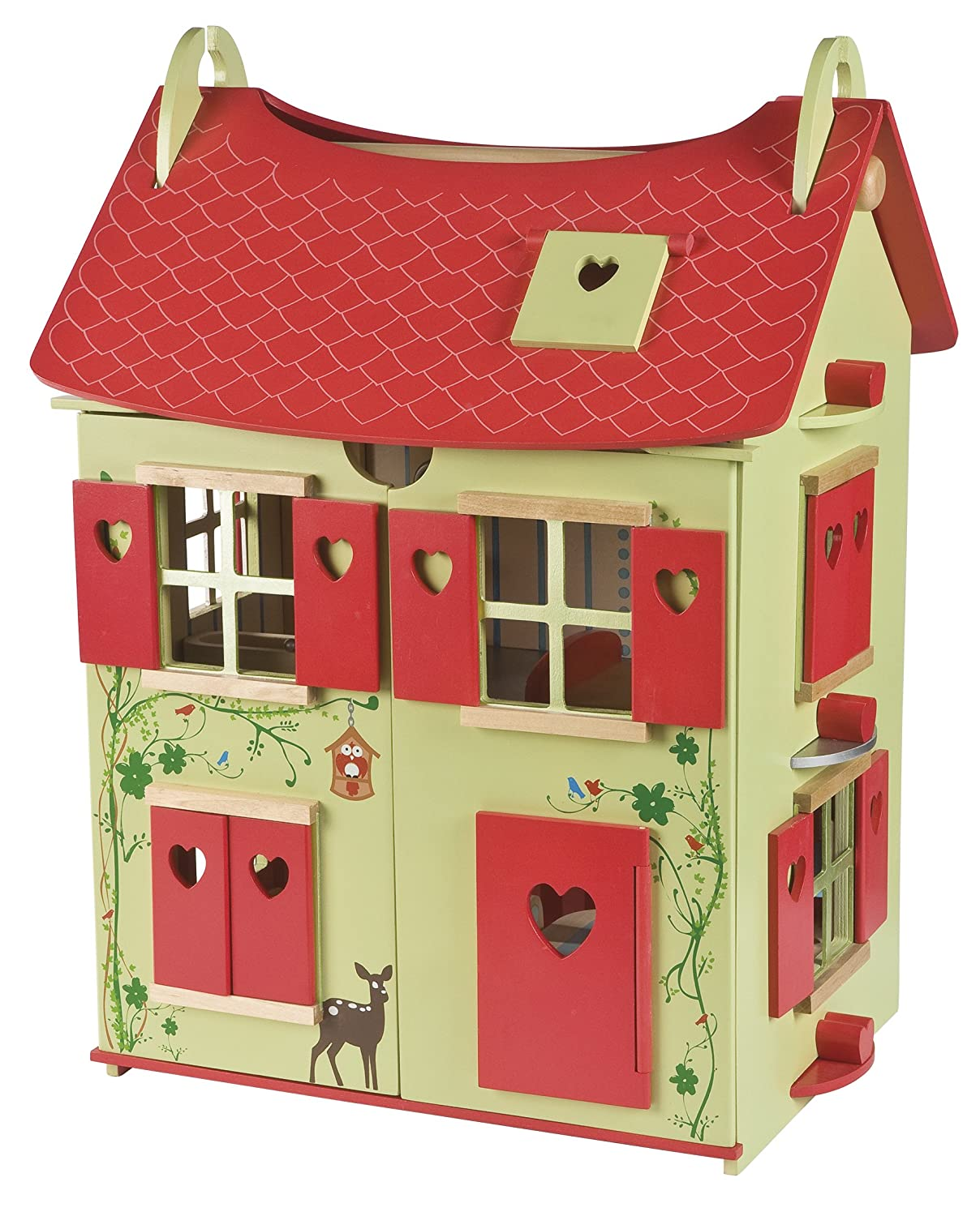 Janod J06585 'Nature' Wooden Doll's House (Red / Green) Juratoys