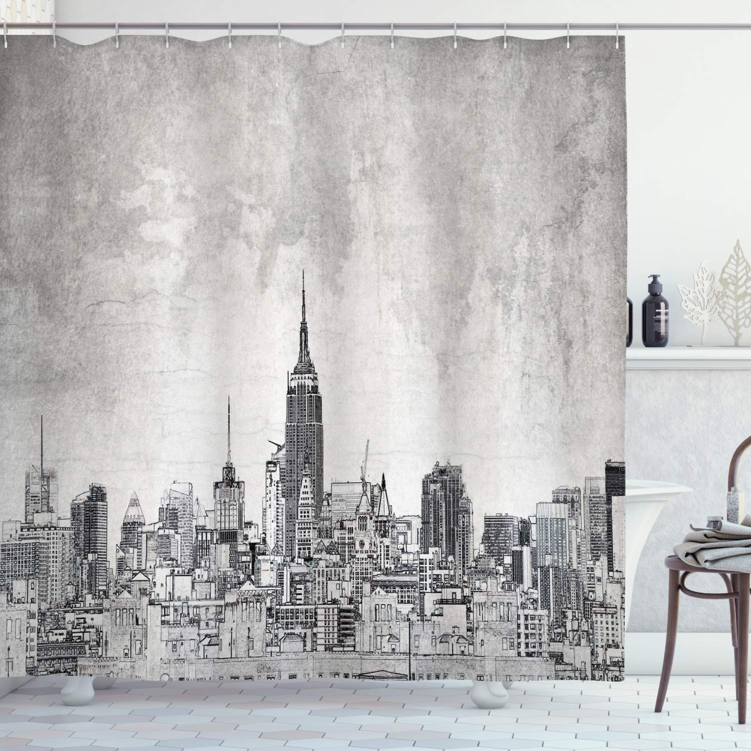 Ambesonne Apartment Decor Collection, Cosmopolitan New York City Skyline with Iconic Skyscrapers and High Buildings Artsy Design, Polyester Fabric Bathroom Shower Curtain Set with Hooks, Grey