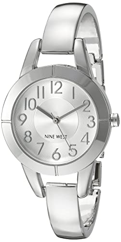 Nine West Women's NW/1763SVSB Easy to Read Silver-Tone Bangle Watch
