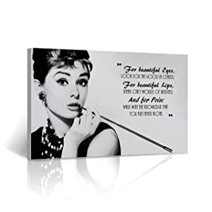 Buy4Wall Audrey Hepburn Quote Wall Art Canvas Print Breakfast at Tiffany`s Say Vintage Home Wall Decor Decorative Framed Art Artwork - Ready to Hang -%100 Handmade in The USA - 8x12