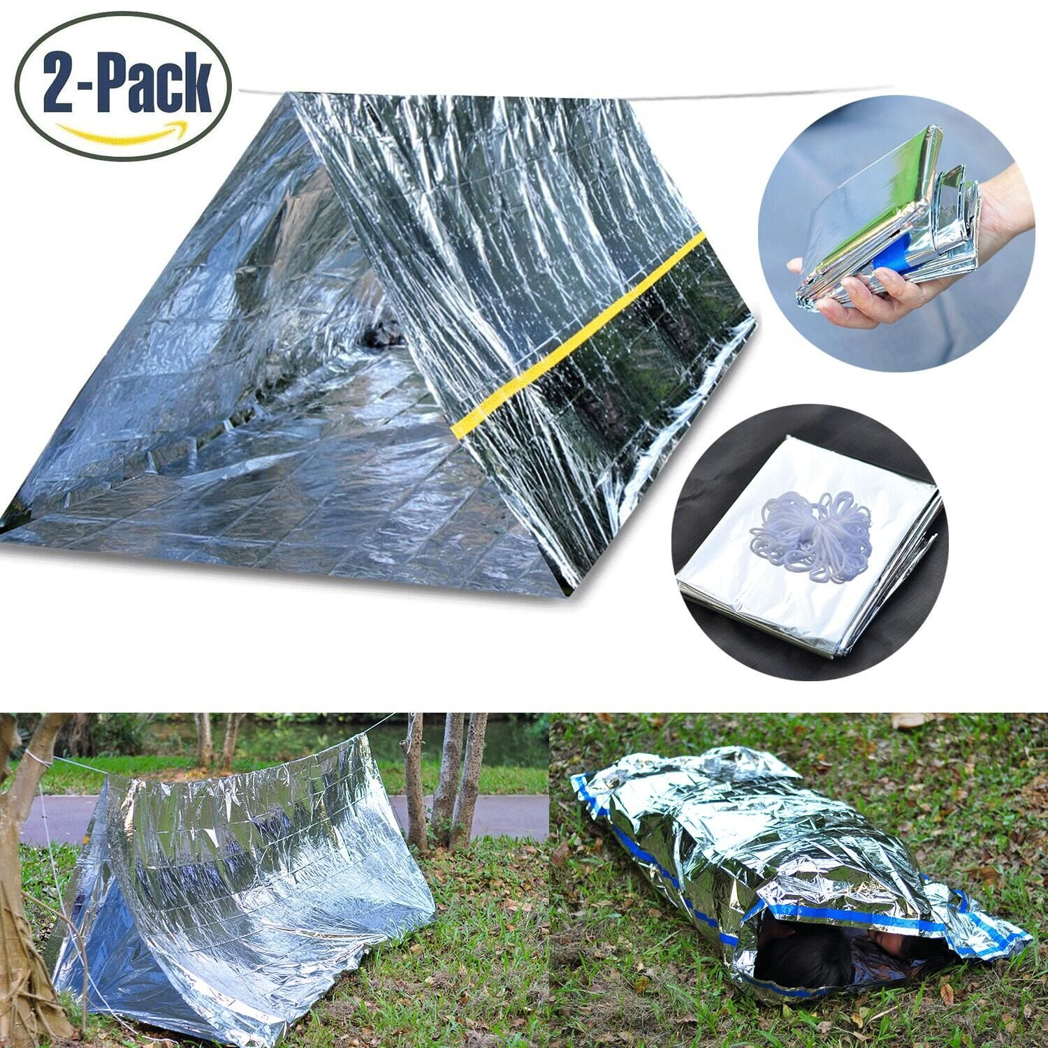 Emergency Survival Kits, Emergency Shelter Tube Tent & Emergency Bag - Super Lightweight Space Blanket Material to Reflect & Retain 99% Body Heat for Camping Hiking Travelling Or Adventures Defler
