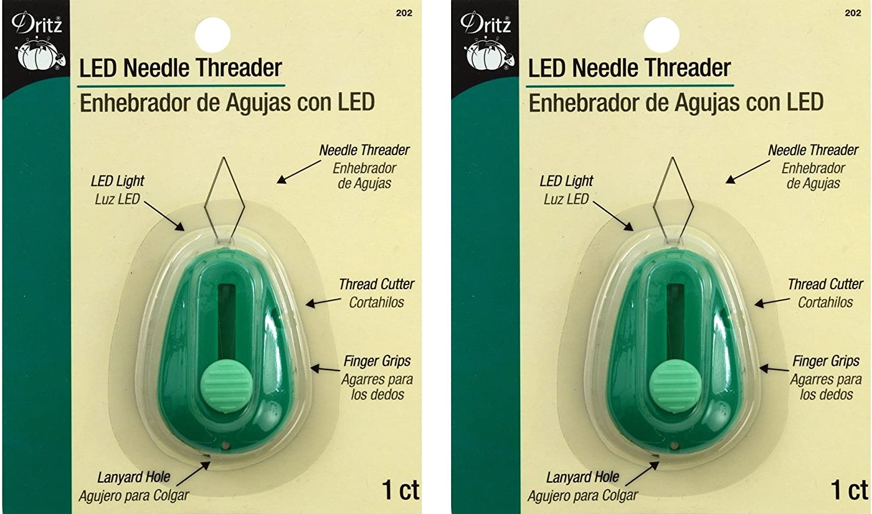 3 Pack Green Dritz LED Lighted Needle Threader