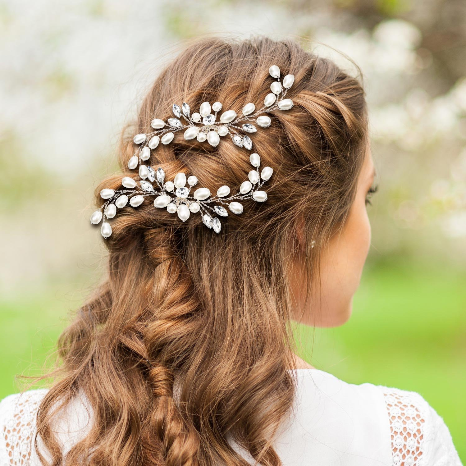 Gejoy 3 Pieces Elegant Wedding Crystal Hair Accessories, Leaves Flowers Hair Comb and 2 Pieces Rhinestone Bridal Hair Pins for Women, Bride or Bridesmaid by Gejoy (Image #5)