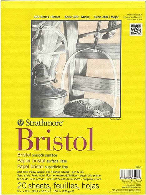 "11/""x14/"" Tape Bound 20 Sheets Strathmore 300 Series Bristol Smooth Pad"