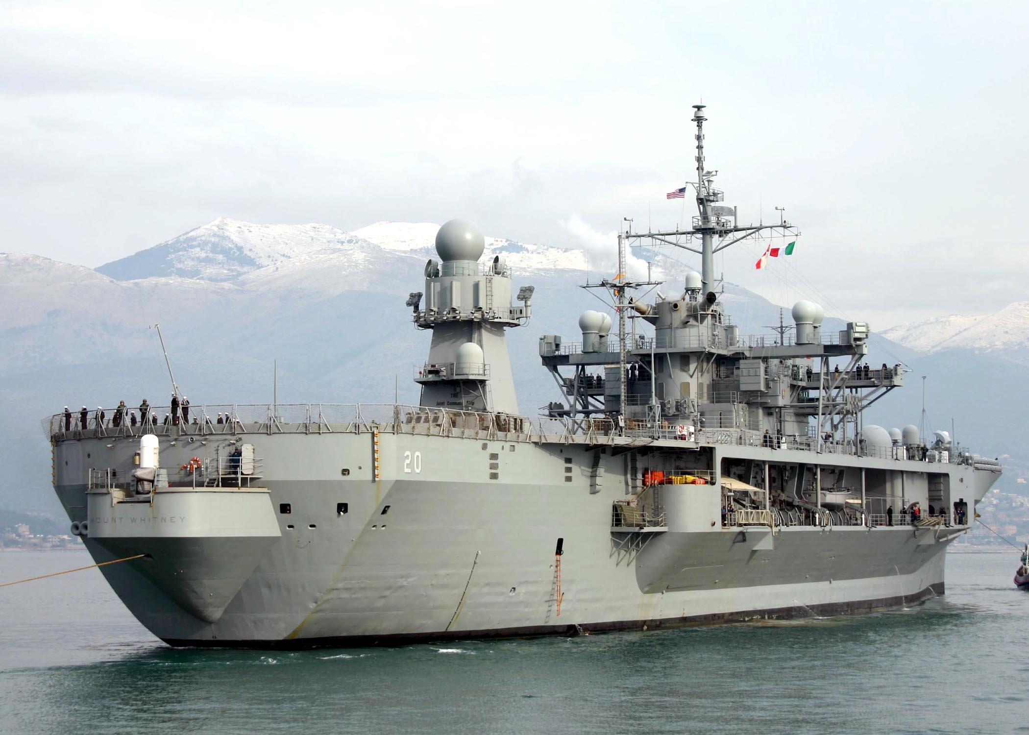Home Comforts The Blue Ridge-class command ship USS Mount Whitney (LCC 20) pulls into Gaeta Harbor in Italy. Mount