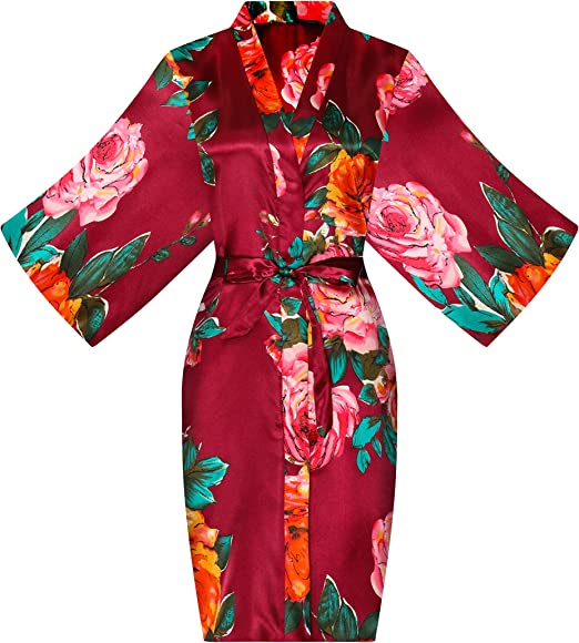 Girls Cotton Floral Kimono Flower Girl Getting Ready Robe for Wedding